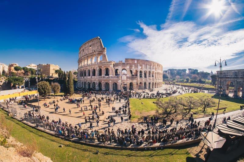 Roman Colosseum à Rome, Italie, panorama de HDR photographie stock