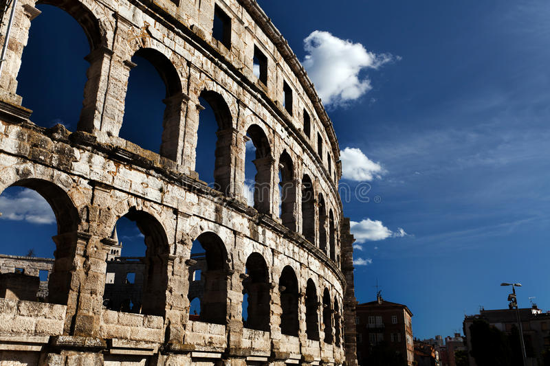 Roman Colosseum. In Pula Old Town, Croatia royalty free stock photo