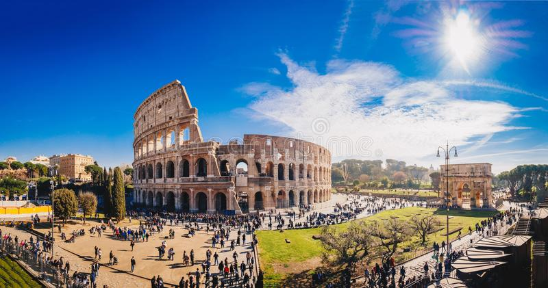 The Roman Colosseum Coloseum in Rome, Italy wide panoramic vie stock photos
