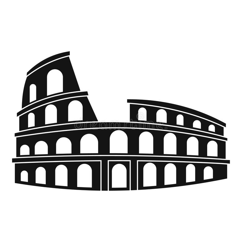 Roman Colosseum icon, simple style. Roman Colosseum icon. Simple illustration of Colosseum vector icon for web stock illustration