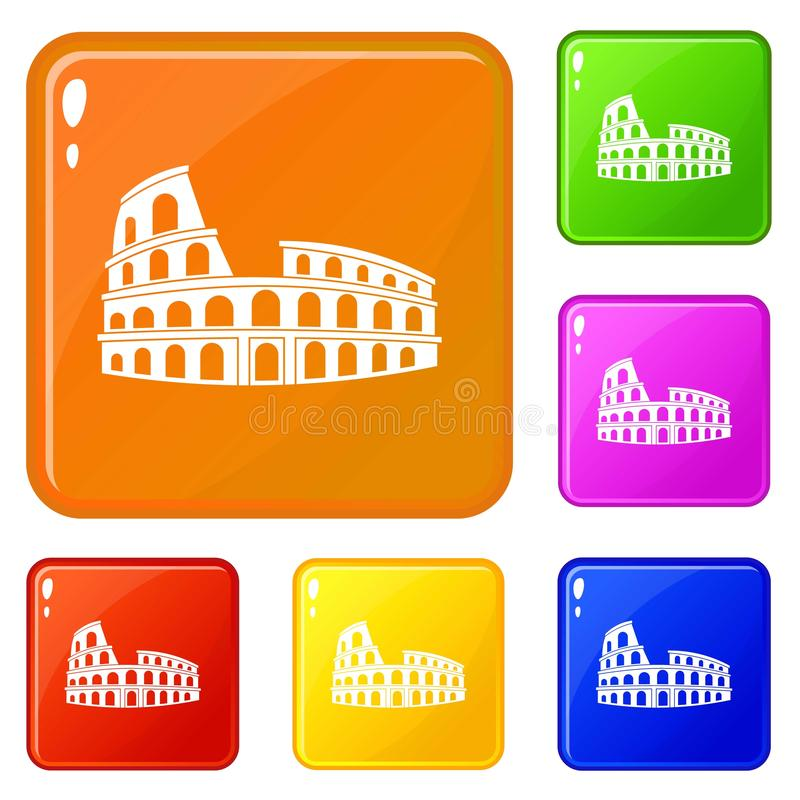 Roman Colosseum icons set vector color. Roman Colosseum icons set collection vector 6 color isolated on white background vector illustration