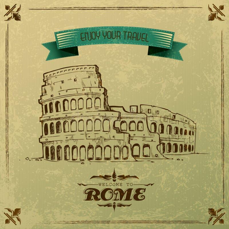 Download Roman Colosseum For Retro Travel Poster Stock Vector - Image: 33124201