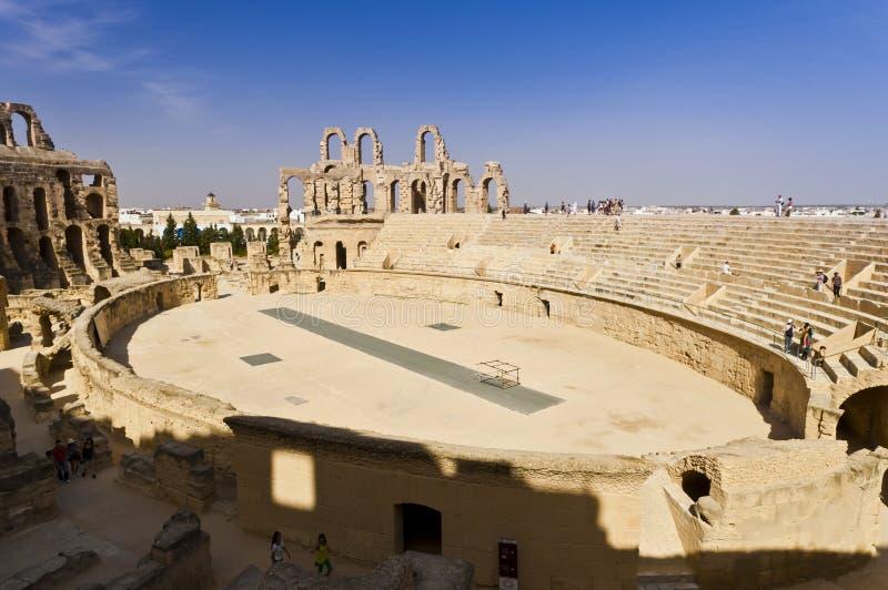Roman Colosseum in Tunisia stock photo