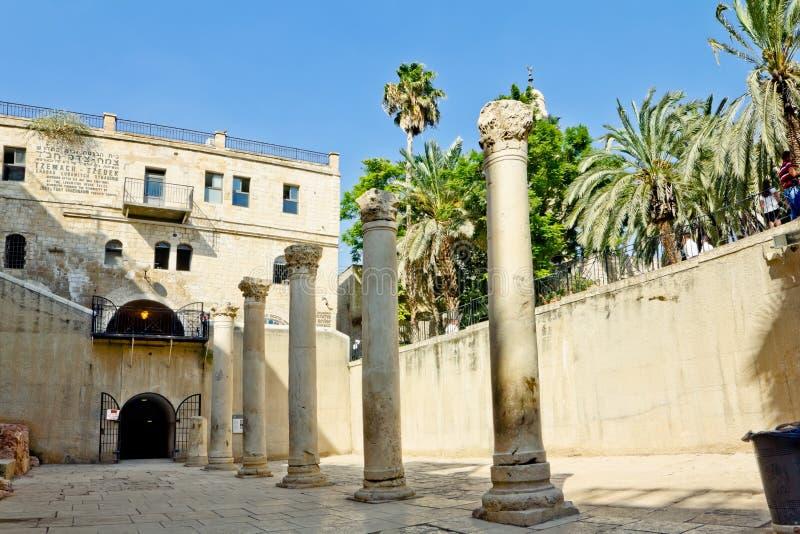 ROMAN COLUMN IN CARDO GALLERY IN JERUSALEM royalty free stock images