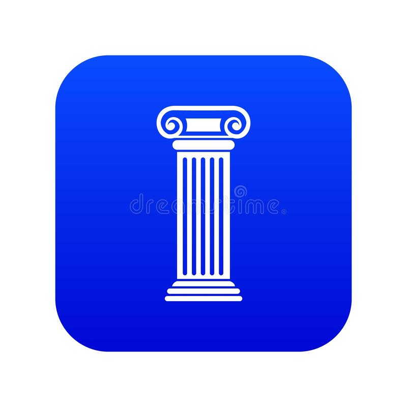 Roman column icon digital blue. For any design isolated on white vector illustration vector illustration