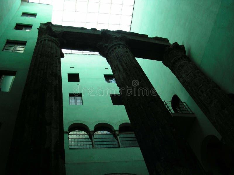 Roman columns in Barcelona royalty free stock photo