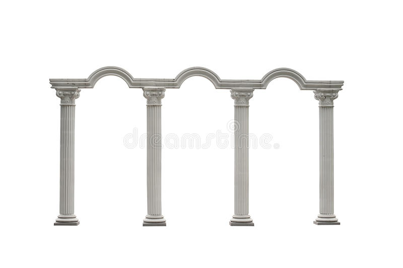 Roman columns gate isolated on white with Clipping Path stock photo