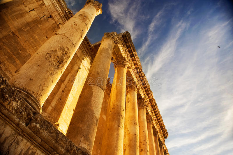Roman Columns in Lebanon stock photography