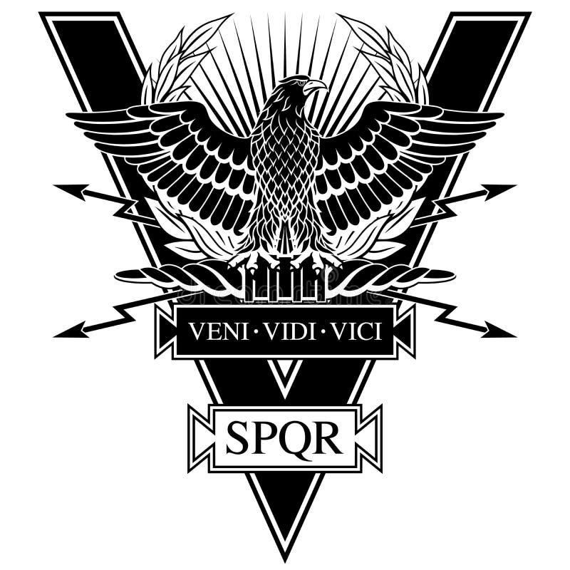 Roman Eagle avec les mots de César veni, vidi, vici illustration de vecteur