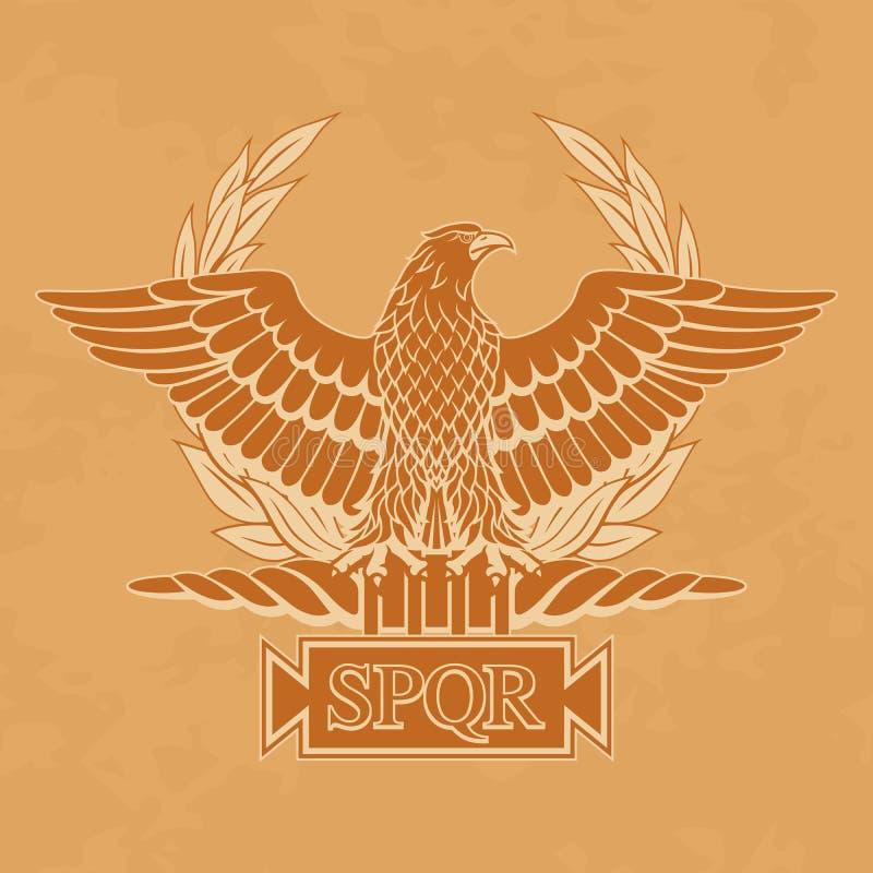 Roman Eagle con l'iscrizione S P Q r su vecchia carta royalty illustrazione gratis