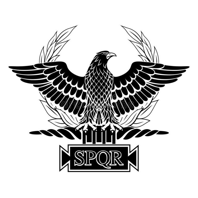 Roman Eagle with the inscription S.P.Q.R. Black. Roman Eagle with the inscription S.P.Q.R. - Senatus Populus Que Romanus, that in Italian means The Senate and stock illustration