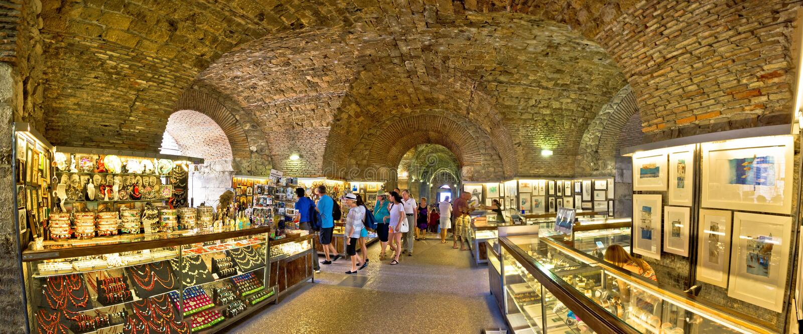 Roman Emperor Diocletian palace catacombs in Split stock photography