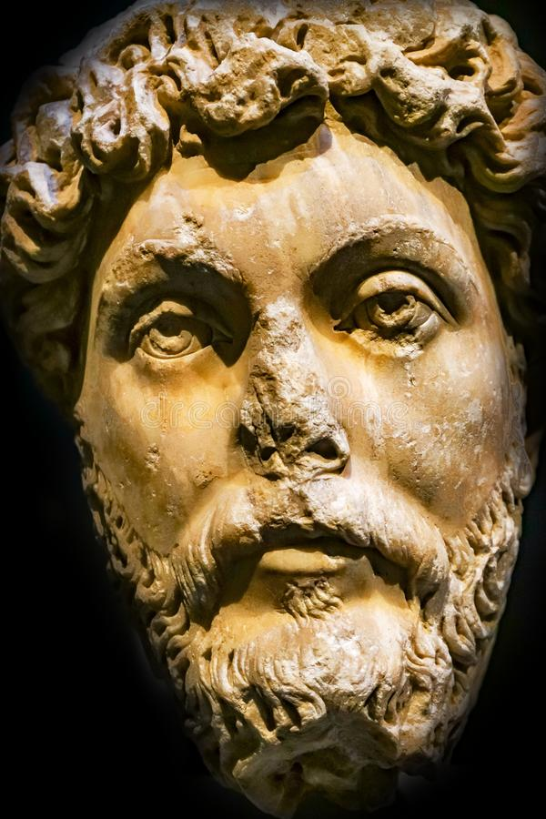 Roman Emperor Marcus Aurelius Statue Mus archeologico nazionale immagini stock
