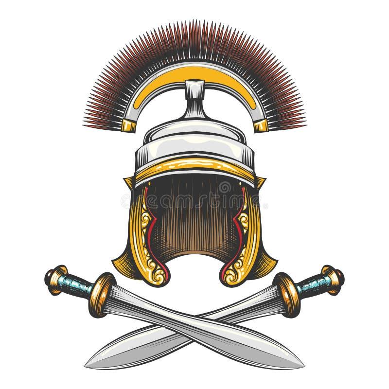 Roman Empire Helmet com espadas ilustração royalty free