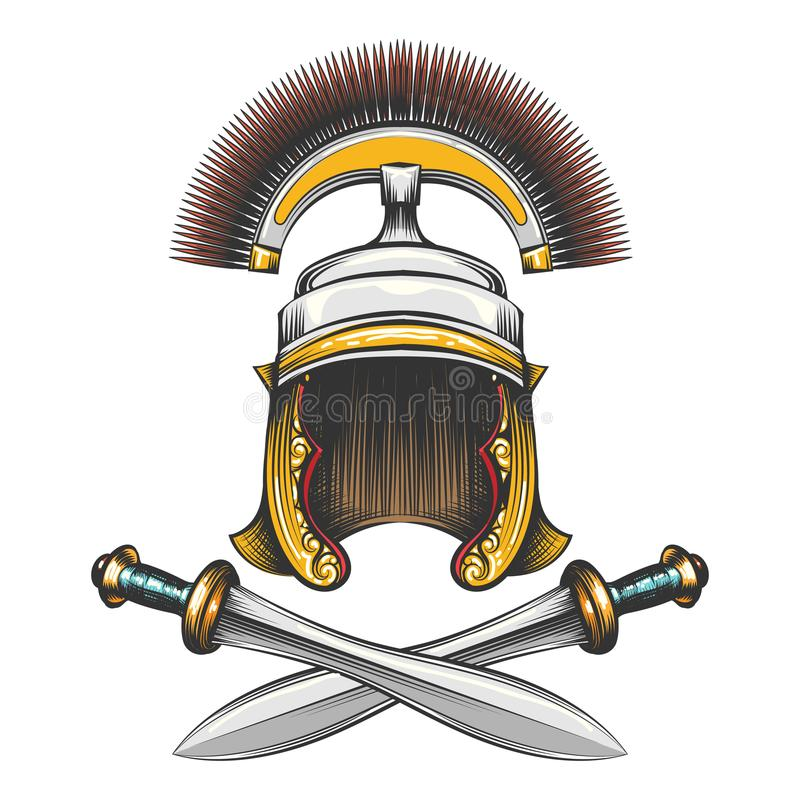 Roman Empire Helmet met Zwaarden royalty-vrije illustratie