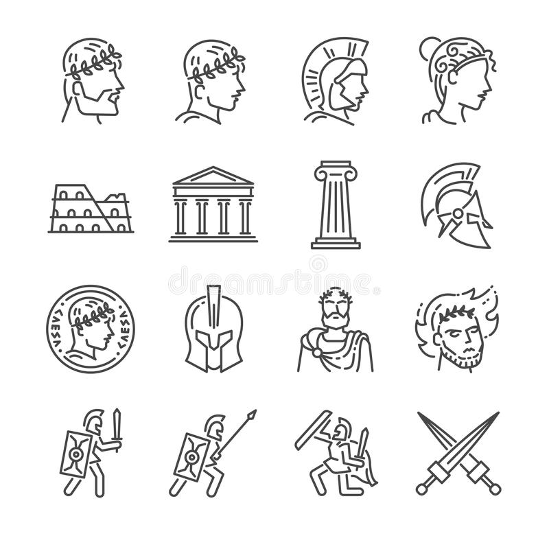 Roman empire line icon set. Included the icons as soldier, column, coliseum, sanctuary, emperor and more. stock illustration