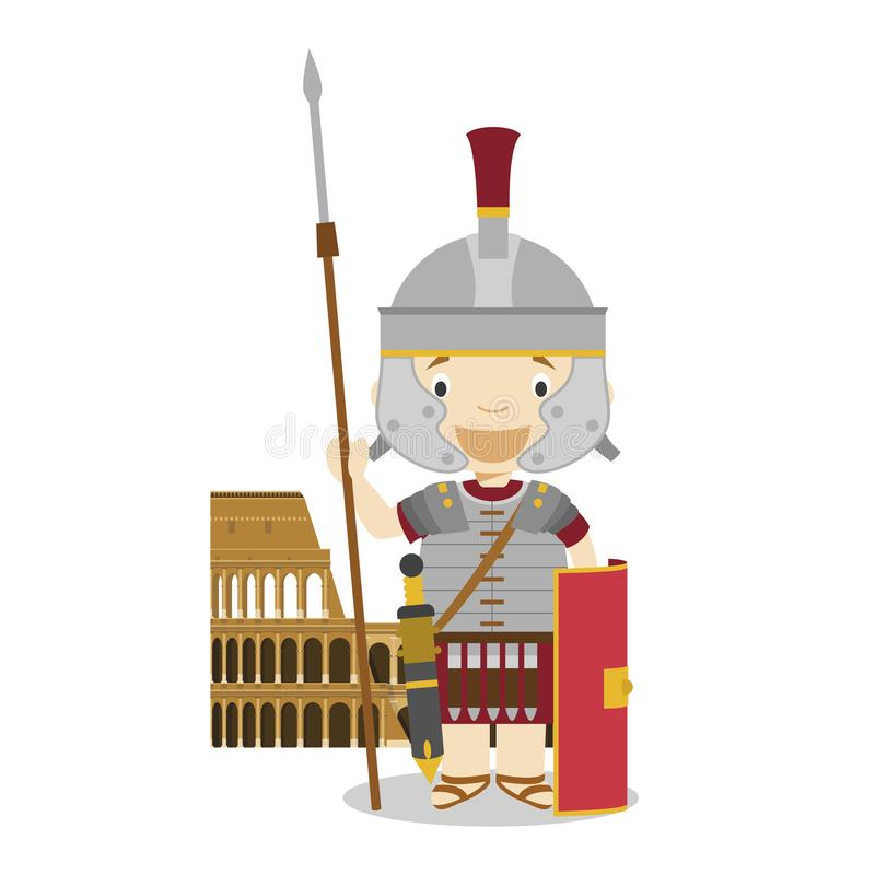 Roman Empire soldier cartoon character with The Colisseum. Vector Illustration. stock illustration