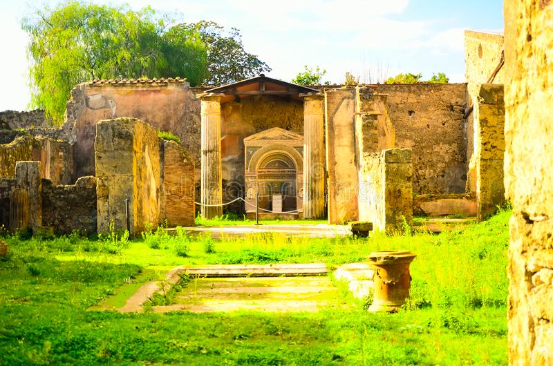 Exterior of ruins of antique and ancient Roman rich family home garden part of tourist destination royalty free stock photos