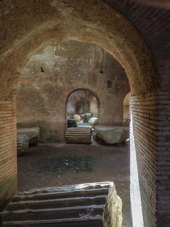Roman Flavian Amphitheater. Pozzuoli, Italy. Artefacts and architectural features underneath the ruins of the Flavian amphitheater in Pozzuoli, The third largest stock photos