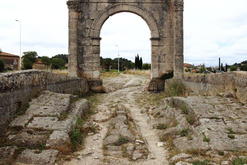 Roman Flavien bro av helgonet-Chamas, Frankrike arkivbilder