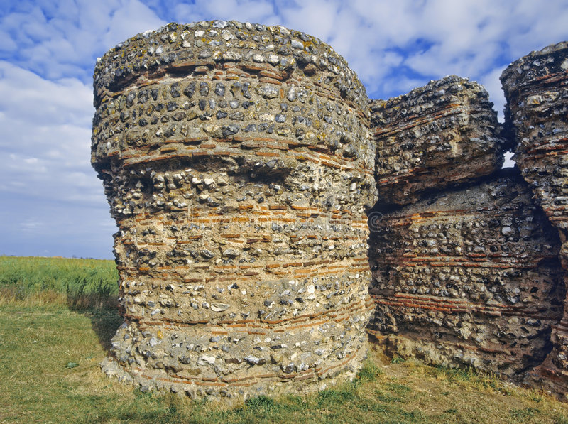 Roman fort. The roman fort gariannonium at burgh castle in the norfolk broads national park east anglia england stock image