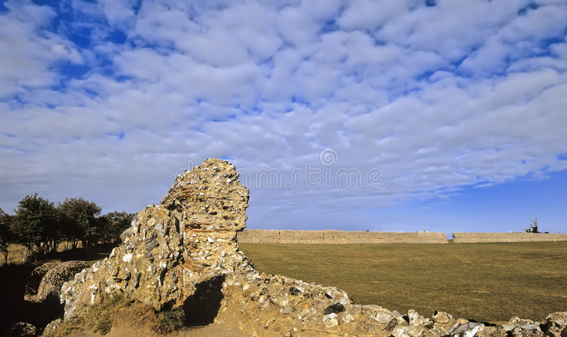 Roman fort. The roman fort gariannonium at burgh castle in the norfolk broads national park east anglia england stock images