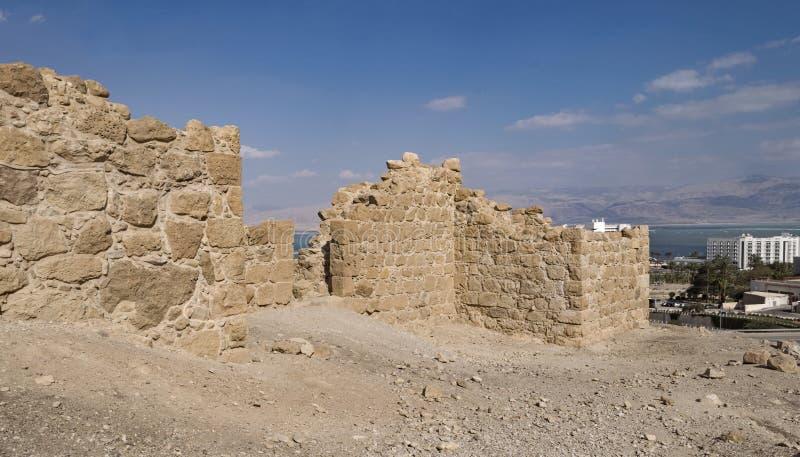 Roman Fortress antigo em Ein Bokek em Israel fotos de stock