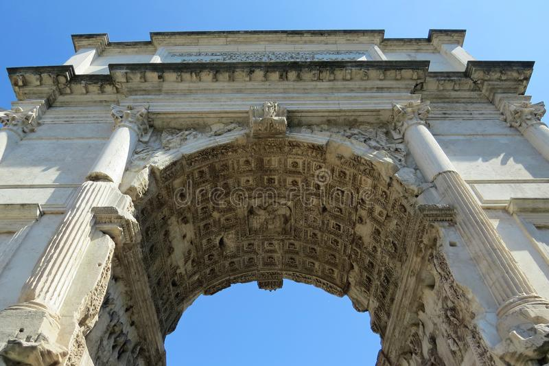 Closeup view into the inside of the white marble triumphal arch of Septimius Severus on the Forum Romanum, Rome, Italy, Europe stock image
