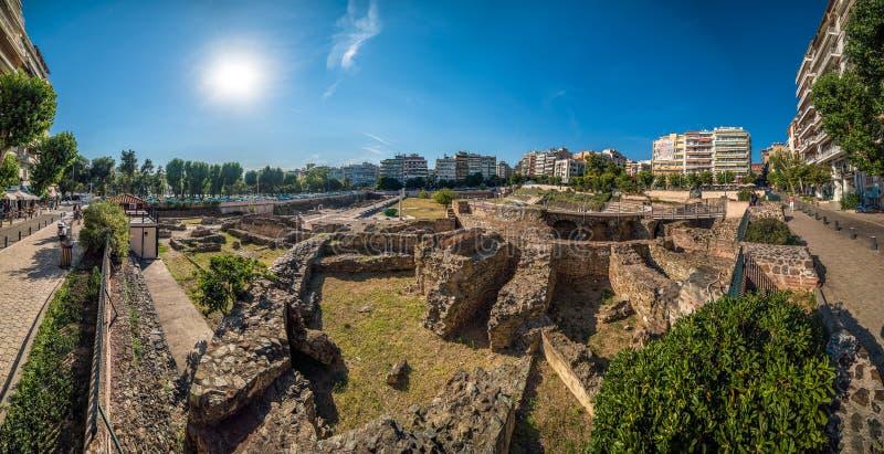 Roman Forum Ancient Agora Panorama bij Thessaloniki Stad stock fotografie