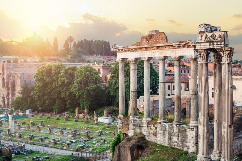 Roman forum architecture in Rome. Temple of Saturn, Rome ethernal city architectural details. City center Rome, Italy royalty free stock photo