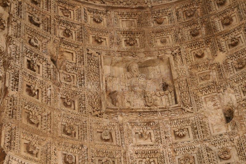 Roman Forum.Bas-relief on an arch. royalty free stock photos
