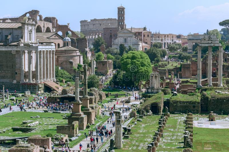 The Roman Forum with the Colosseum in the background, Rome, Ita stock photos