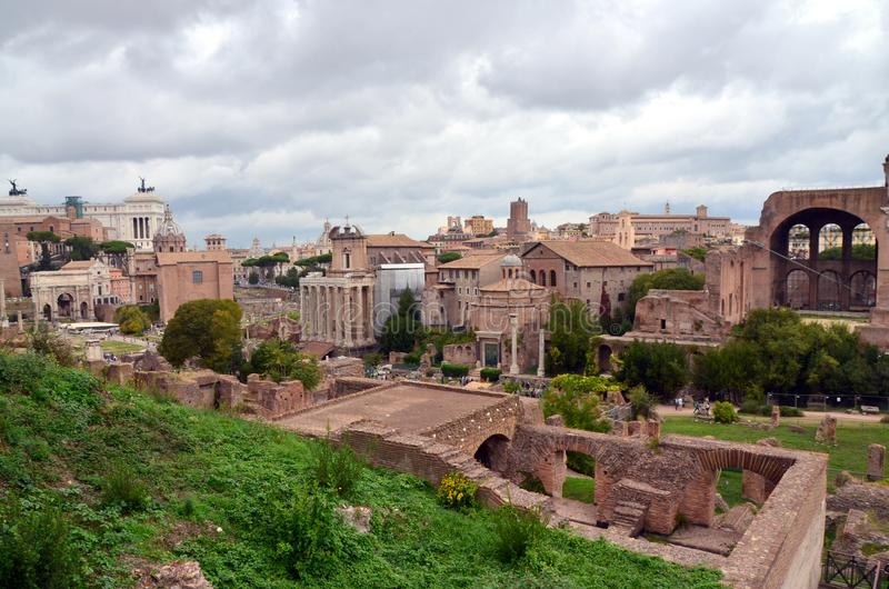 The Roman Forum from Palatine hill in Rome, Italy. Roman Forum, or Forum Romanum, as seen from the Palatine Hill. Rome , Italy stock photography