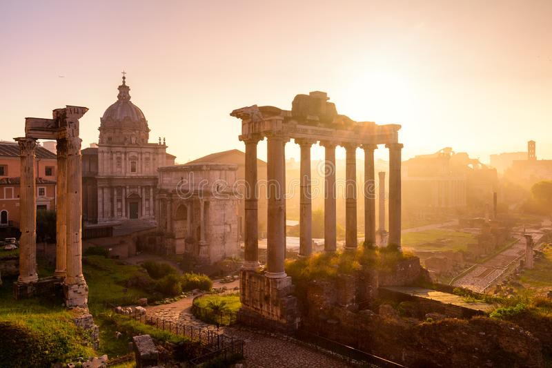 Roman Forum. Image of Roman Forum in Rome, Italy during sunrise stock photography