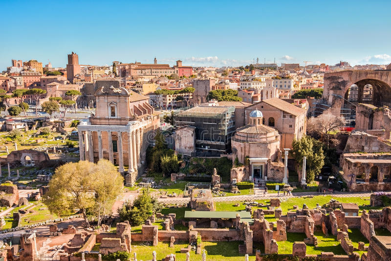 The Roman Forum landmark of Rome in Italy stock photo