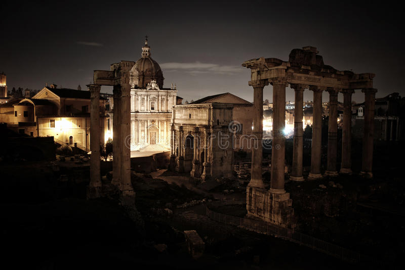 Roman Forum at night royalty free stock image