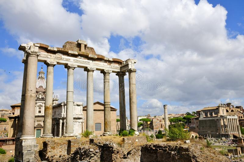 Roman Forum North. Ancient architectural fragments: Temple of Saturn royalty free stock photography