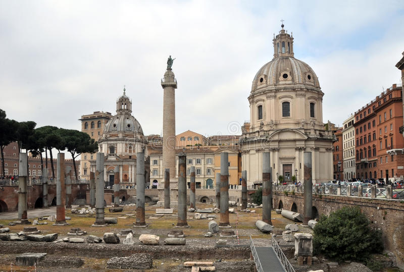 Roman Forum Piazza Foro Traiano, Rome Italy stock image