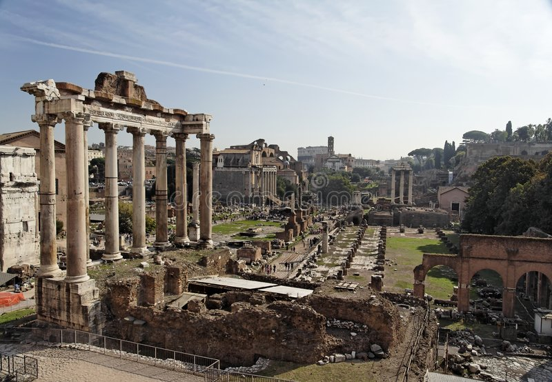 Roman Forum Rome. The Roman Forum, the ruins of several constructions. The columns on the left are the temple of Saturn. Rome, Italy stock images