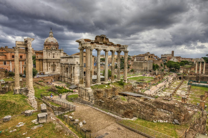 The roman forum in rome. HDR image. royalty free stock photos