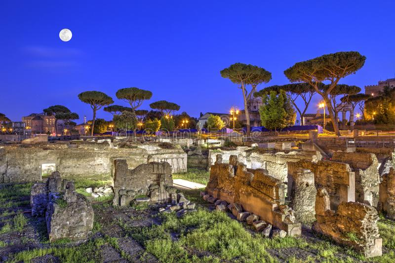Roman Forum in Rome by night, Italy - HDR. Ruins at the roman forum in Rome by night, Italy - HDR royalty free stock photography