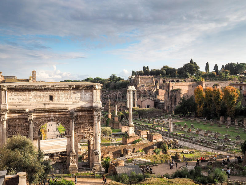 The Roman Forum in Rome stock photos