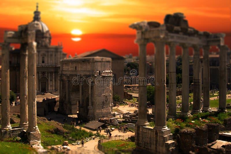 Roman Forum Ruins Rome Tilt Shift Sunset Sunrise royalty free stock image