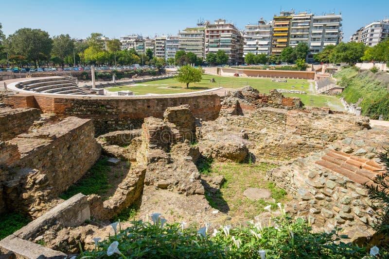 Roman Forum. Thessaloniki, Macedonia, Greece. Ruins of ancient Greek Agora later Roman Forum in Thessaloniki. Macedonia, Greece, Europe stock photo