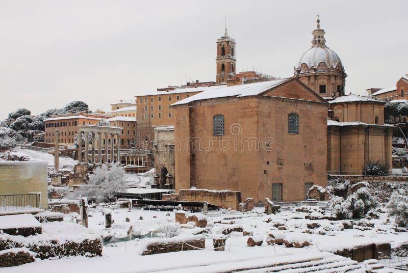 Roman Forum under snow stock photo