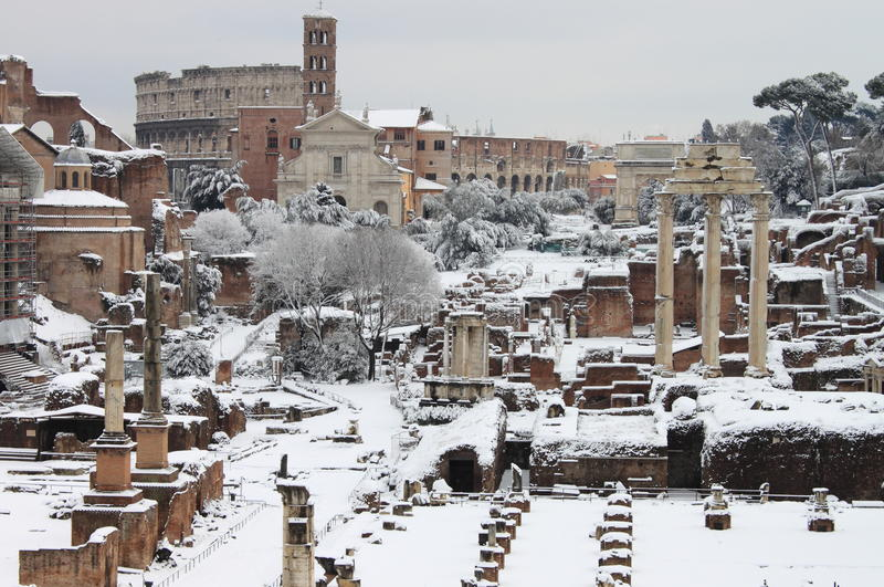 The Roman Forum under snow royalty free stock photography