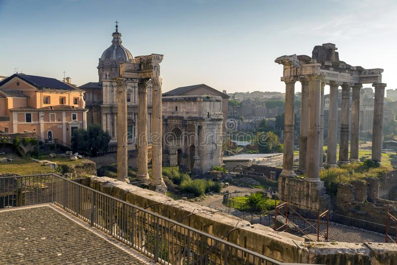 Roman Forum. Vast excavated area of Roman temples, squares & government buildings, some dating back 2,000 years. royalty free stock image