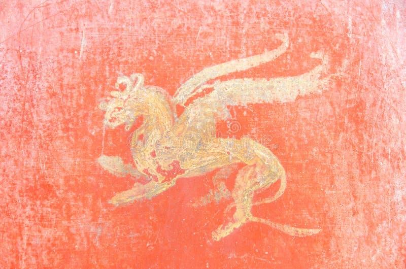 Roman Fresco em Pompeii, Itália. fotografia de stock royalty free