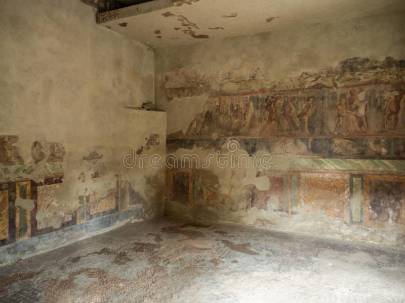 Roman frescos in Pompeii, Italy. World Heritage List. Details of frescos in rooms of ruined Roman villa in the ancient Roman city of Pompeii, near modern Naples stock photos