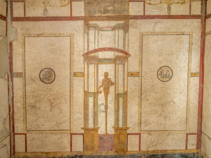 Roman frescos in Pompeii, Italy. World Heritage List. Details of frescos in rooms of ruined Roman villa in the ancient Roman city of Pompeii, near modern Naples stock photography